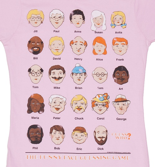 Women's Baby Pink Guess Who Faces T-Shirt