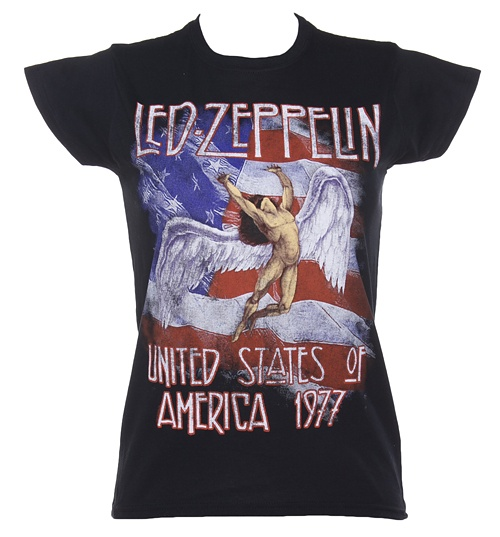 Women's Black Led Zeppelin Stars And Stripes 1977 T-Shirt