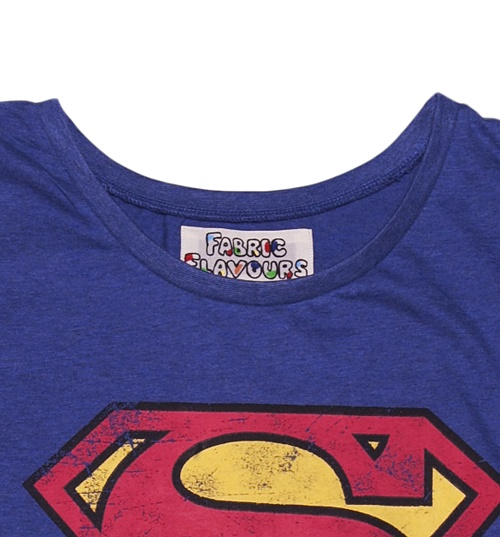 Women's Blue Wash Scoop Neck Superman Logo T-Shirt from Fabric Flavours