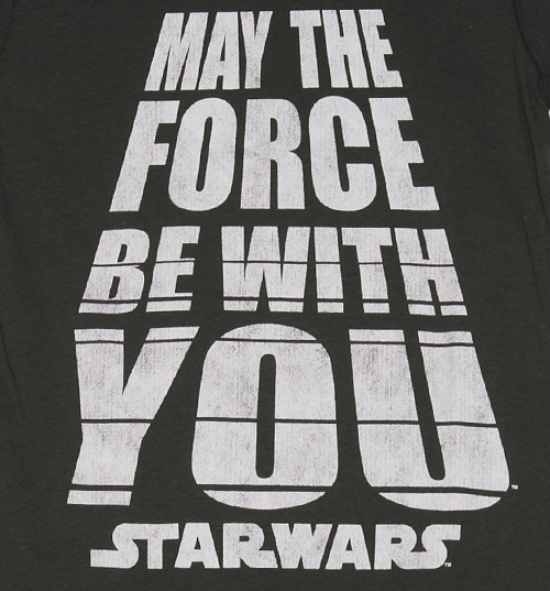 Women's Charcoal Star Wars May The Force Be With You T-Shirt from Mighty Fine