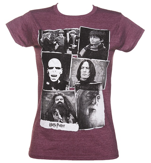 Women's Maroon Harry Potter Collage T-Shirt