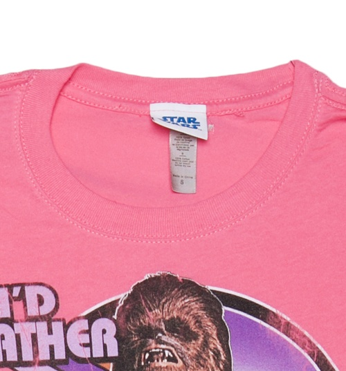 Women's Pink I'd Rather Kiss A Wookie Star Wars T-Shirt