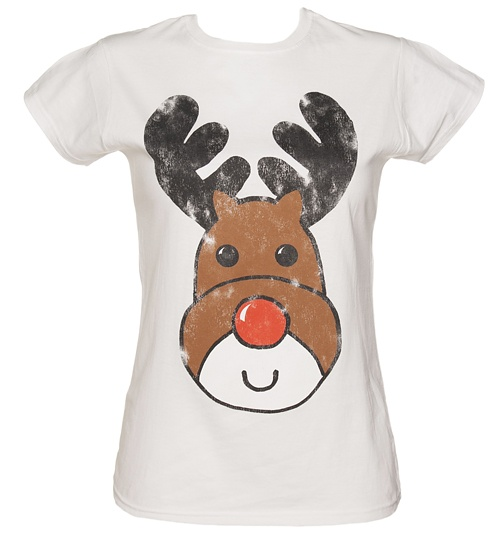 Women's White Reindeer Christmas T-Shirt