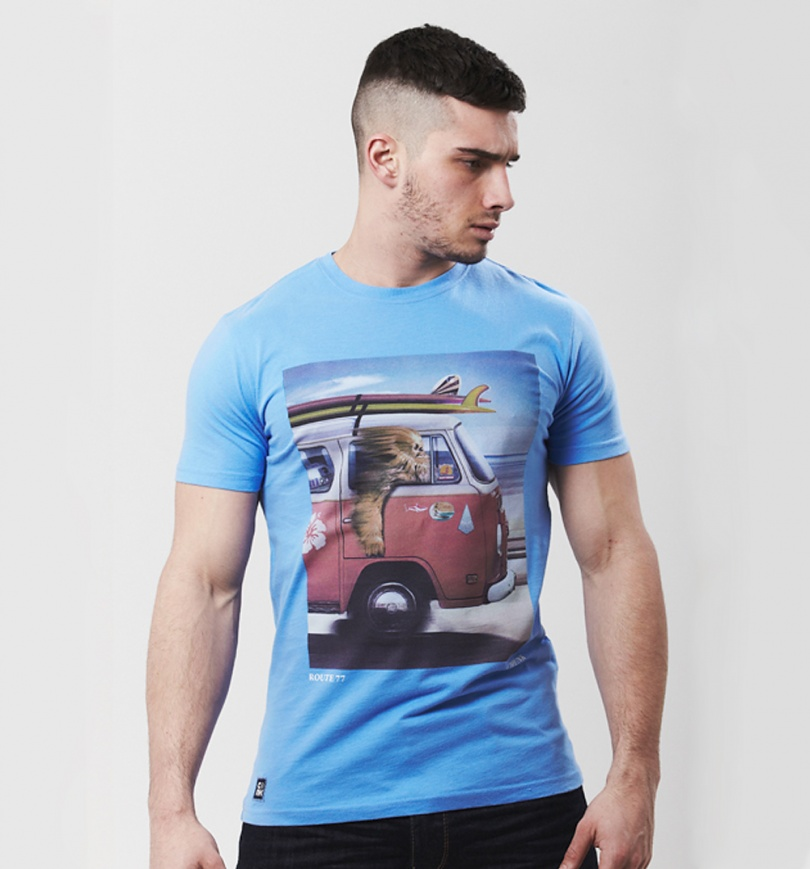 Men's Blue Wookie Route 77 Star Wars T-Shirt from Chunk