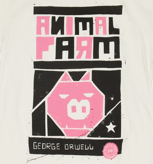 Men's White George Orwell Animal Farm Novel T-Shirt from Out Of Print