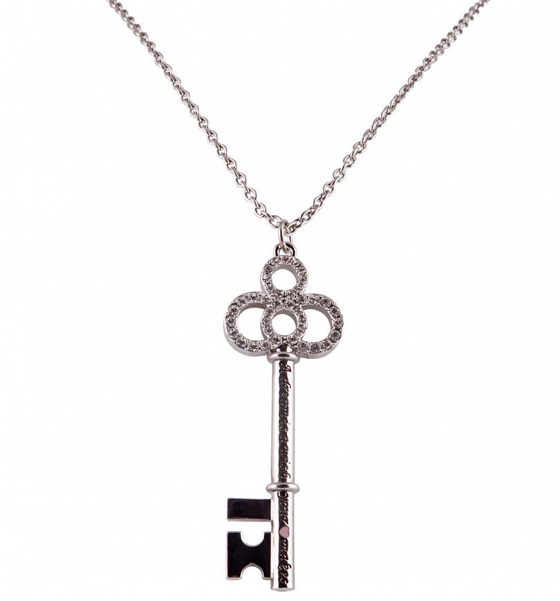 Platinum Plated Cinderella Dream Is A Wish Pave Key Necklace from Disney Couture