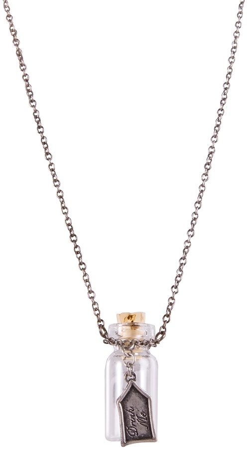 Silver Plated Alice in Wonderland 'Drink Me' Glass Bottle Necklace from Disney Couture