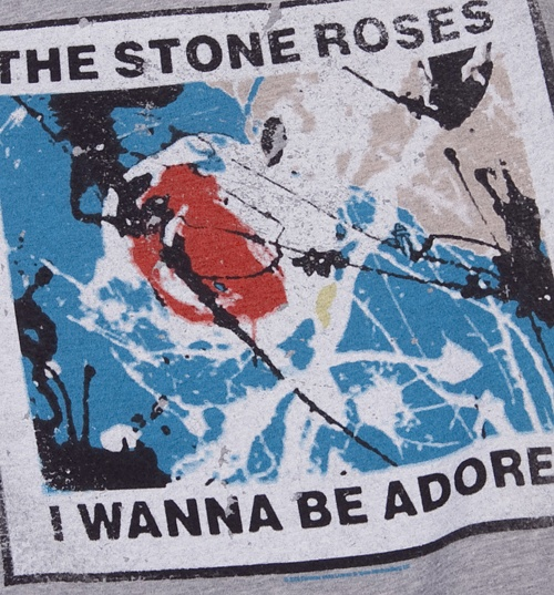 Men's Grey Marl Stone Roses Wanna Be Adored Hoodie from Amplified Vintage