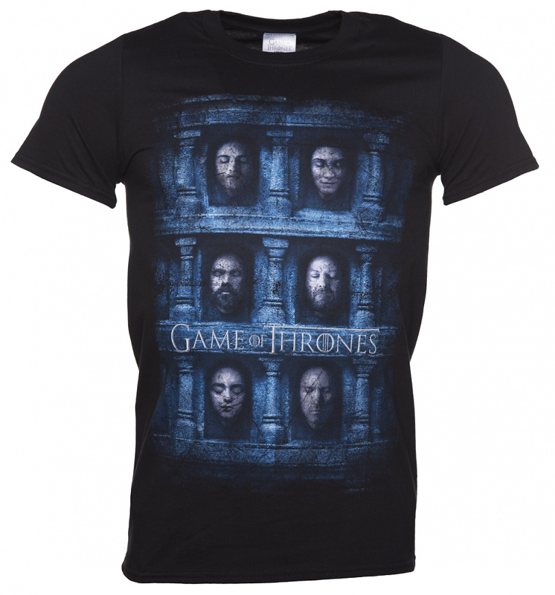 Men 39 s black game of thrones heads t shirt for Game of thrones gifts for men