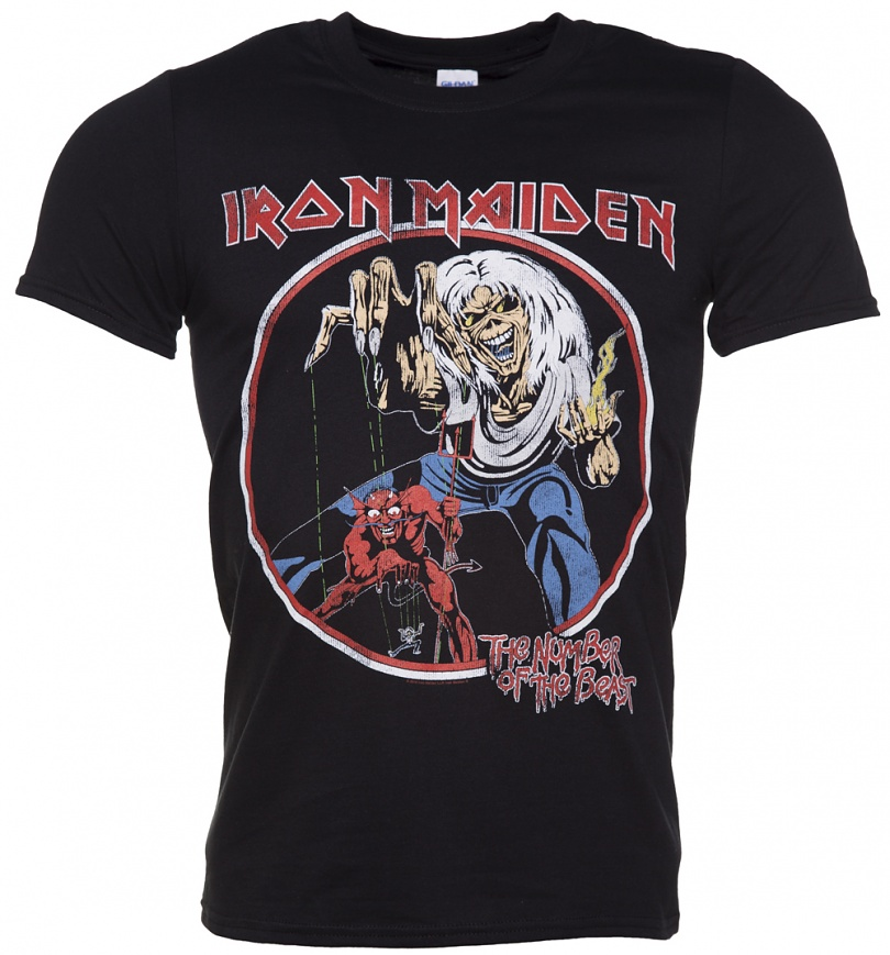 Men S Black Iron Maiden Number Of The Beast T Shirt