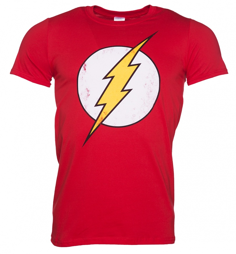 Men 39 s distressed dc comics flash logo t shirt for Shirts with small logos