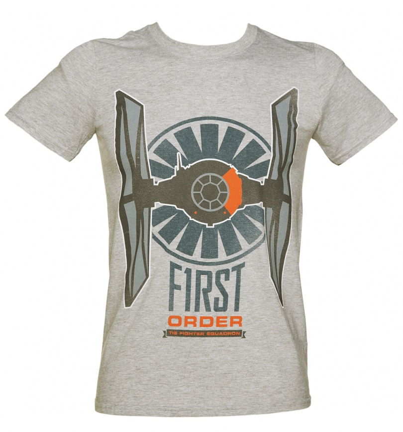 Men 39 s grey marl star wars episode vii the force awakens for Order shirts with logo