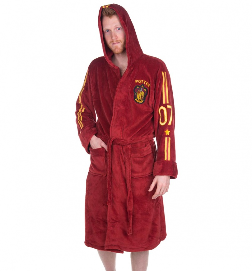 Men\'s Red Harry Potter Quidditch Hooded Dressing Gown