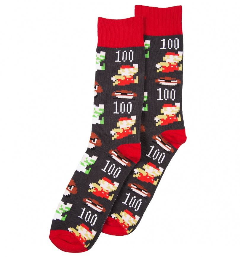 Super Mario Christmas Stocking.Super Mario Brothers Pixel Characters Socks From Difuzed