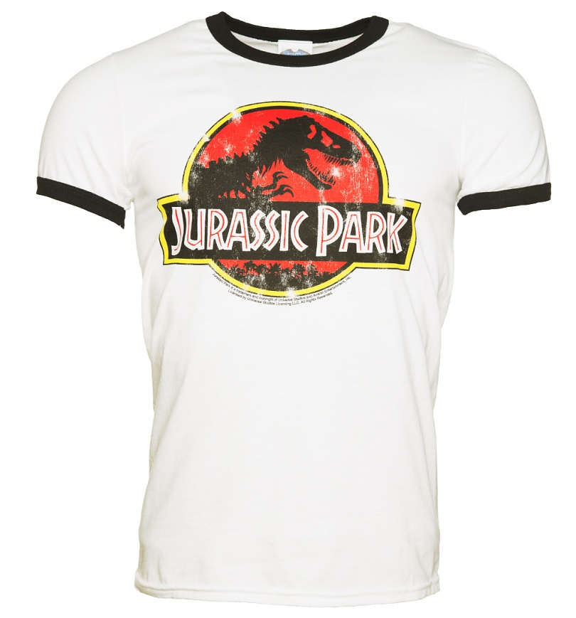 men 39 s white jurassic park logo ringer t shirt. Black Bedroom Furniture Sets. Home Design Ideas