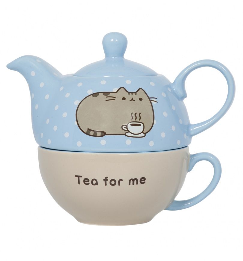pusheen tea for one set. Black Bedroom Furniture Sets. Home Design Ideas