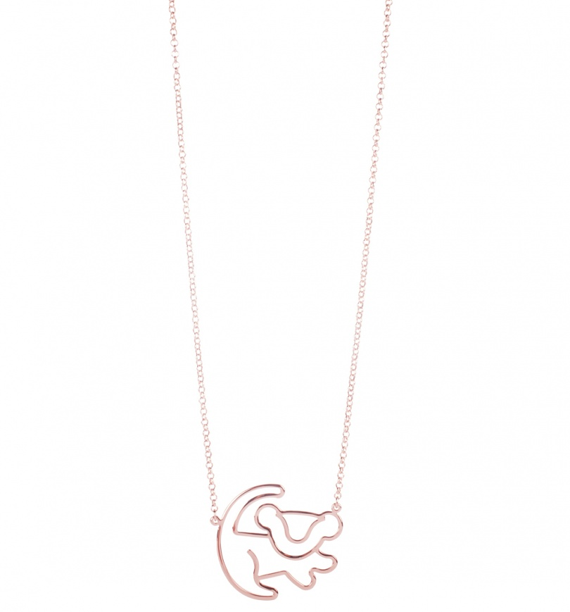 Rose Gold Plated Simba Outline Lion King Necklace From Disney By