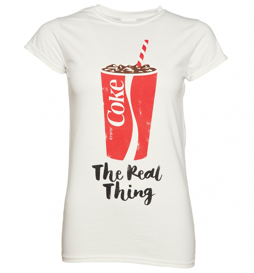 women 39 s coca cola the real thing t shirt. Black Bedroom Furniture Sets. Home Design Ideas