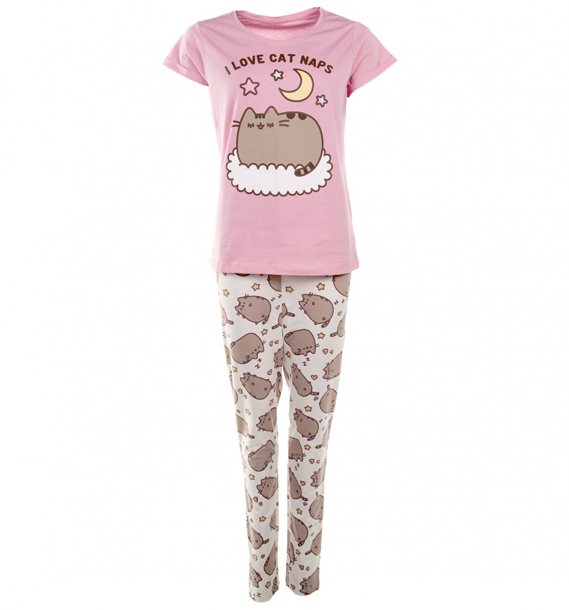 Cat Nap Flannel Pajamas. These pajamas are purr-fect for any cat lover, or anyone who loves to indulge in a good cat nap now and then. Pink flannel, Boyfriend-style pants and button-up Boyfriend top feature a fun and colorful custom print with cats, balls of yarn, and cute cat sayings. Top has two hip pockets with white.