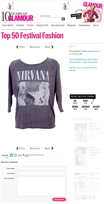 Women's Raglan Sleeve Slouch Nirvana T-Shirt from Chaser LA