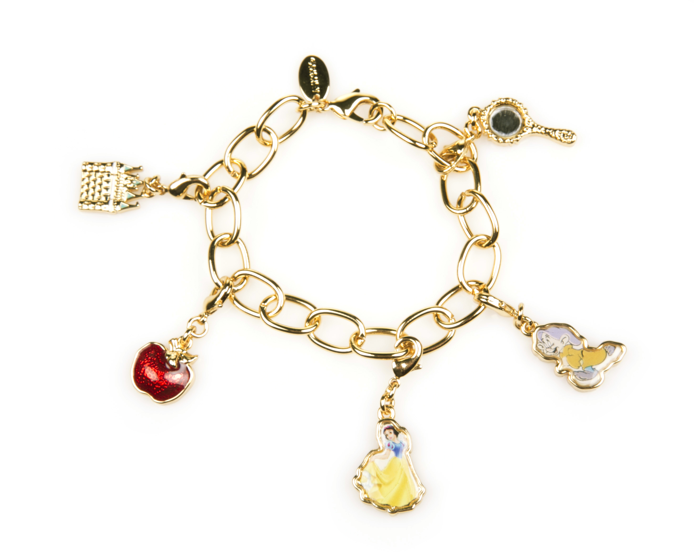gold plated snow white charm bracelet from disney couture