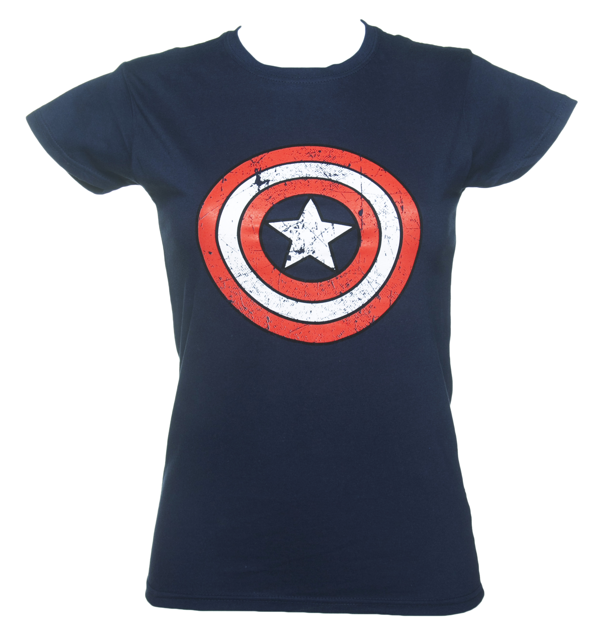 women 39 s blue captain america distressed shield marvel t shirt