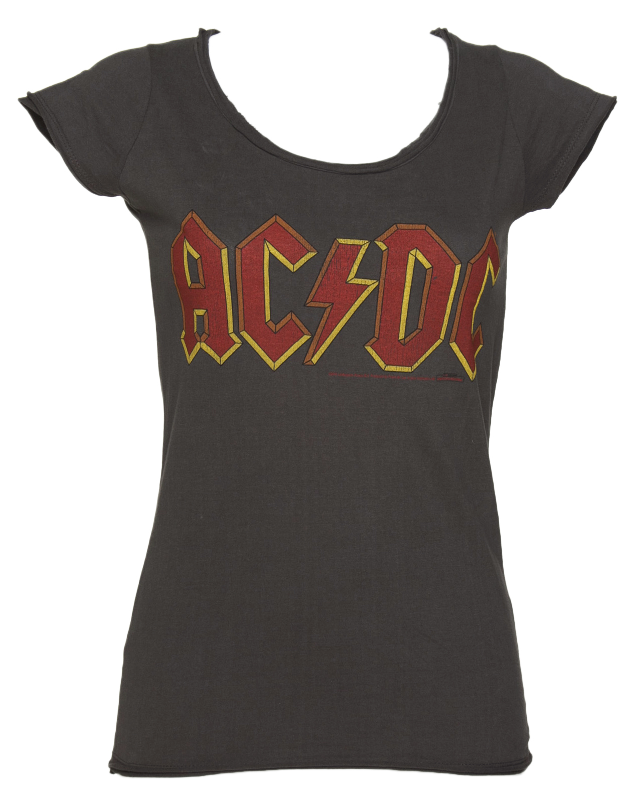 Women 39 s charcoal ac dc logo t shirt from amplified for Dc t shirts online