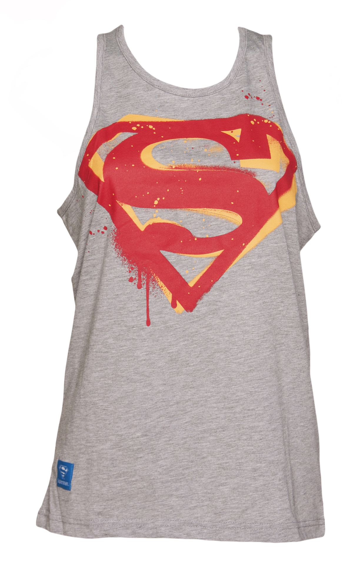 Ladies Grey Marl DC Comics Superman Stencil logo Boyfriend Tank from Addict