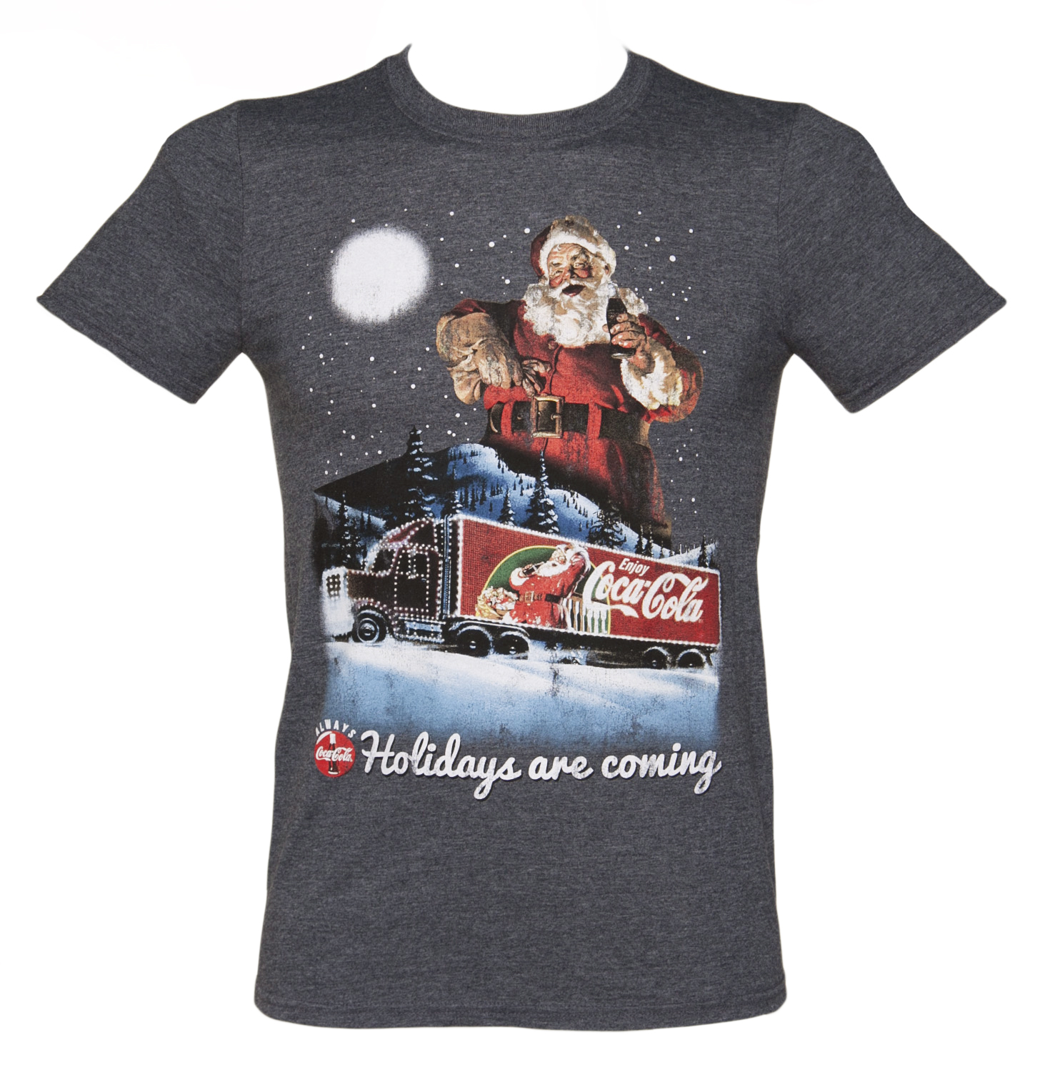 Men's Coca‑Cola Holidays Are Coming Christmas T-Shirt from TruffleShuffle