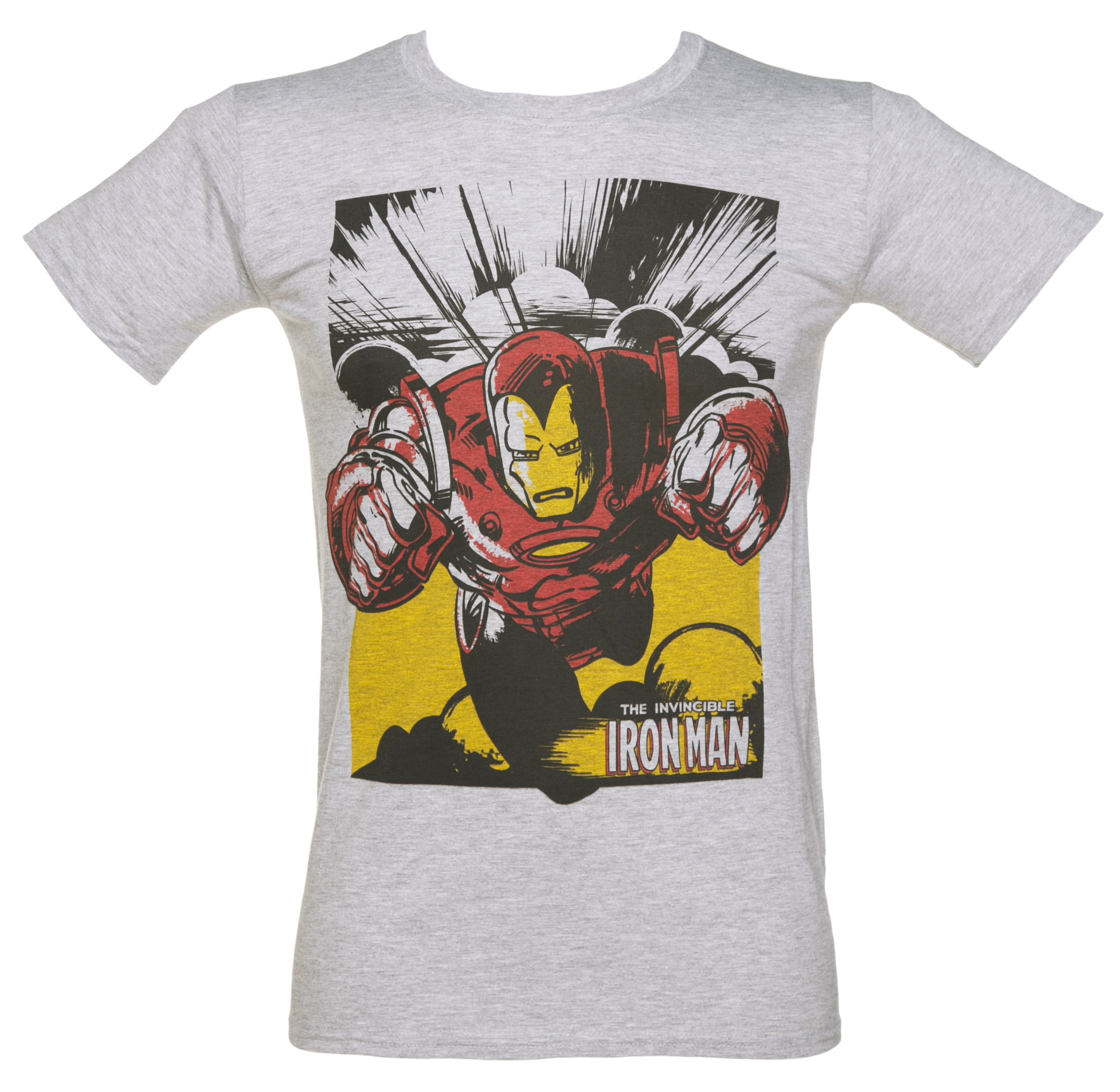 Men's Grey Marl Iron Man Action Marvel T-Shirt