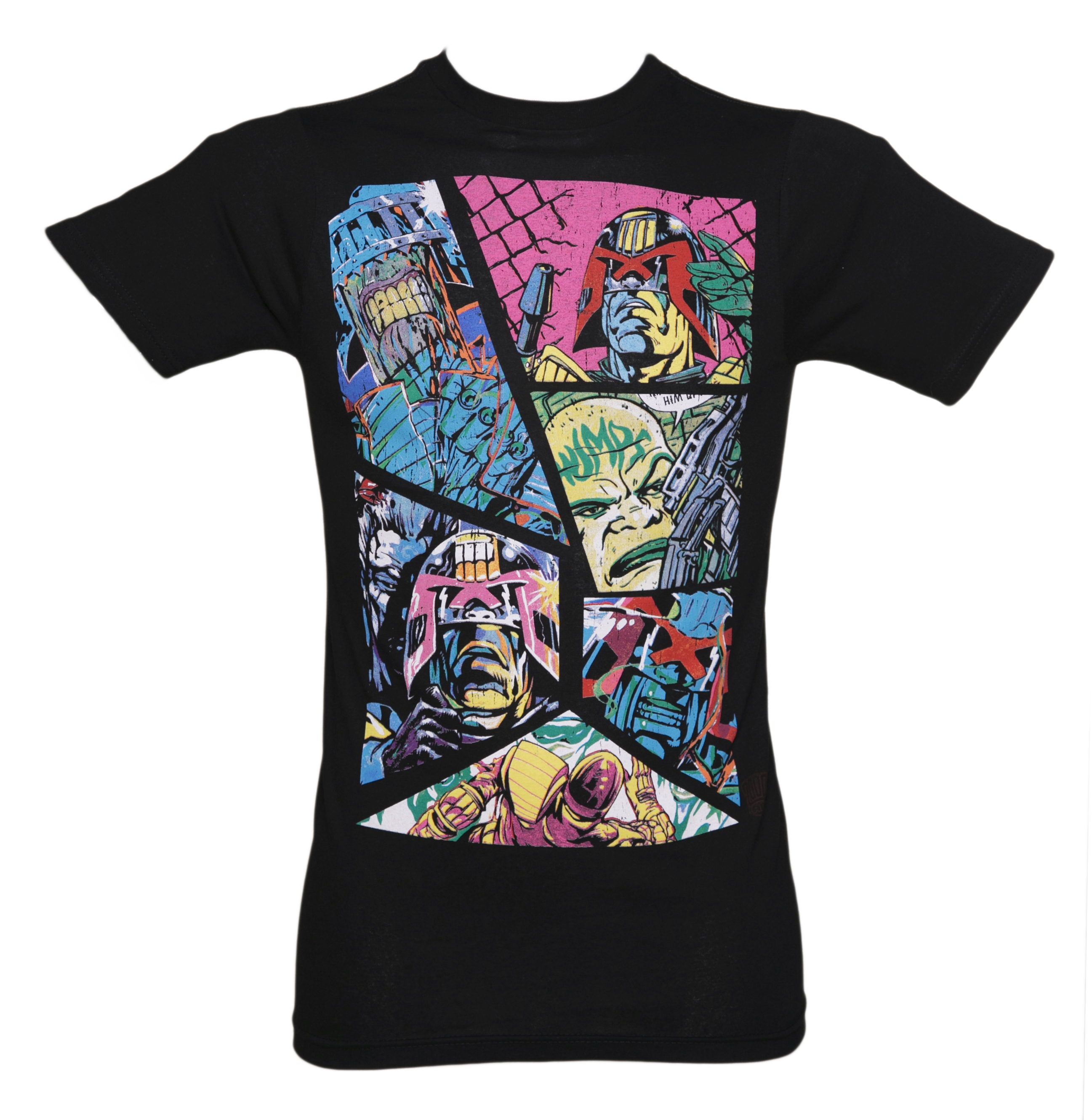 Men's Judge Dredd 2000 AD Neon Panel T-Shirt
