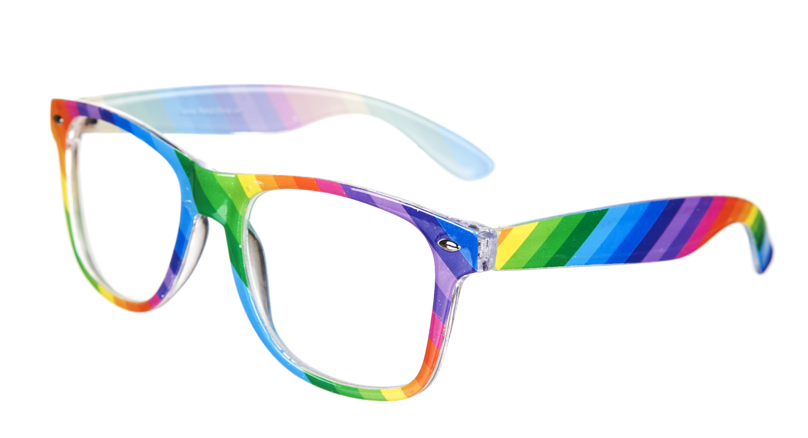 multi colour rainbow clear lens wayfarer glasses
