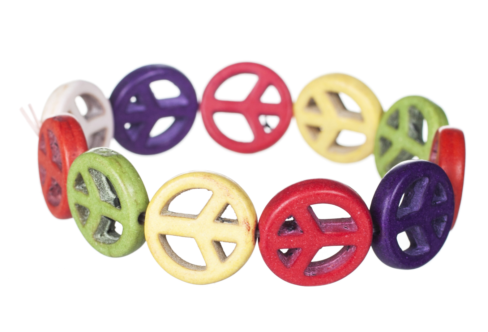 Retro 90'S Wooden Peace Sign Bracelet<br /> from Chelsea Doll