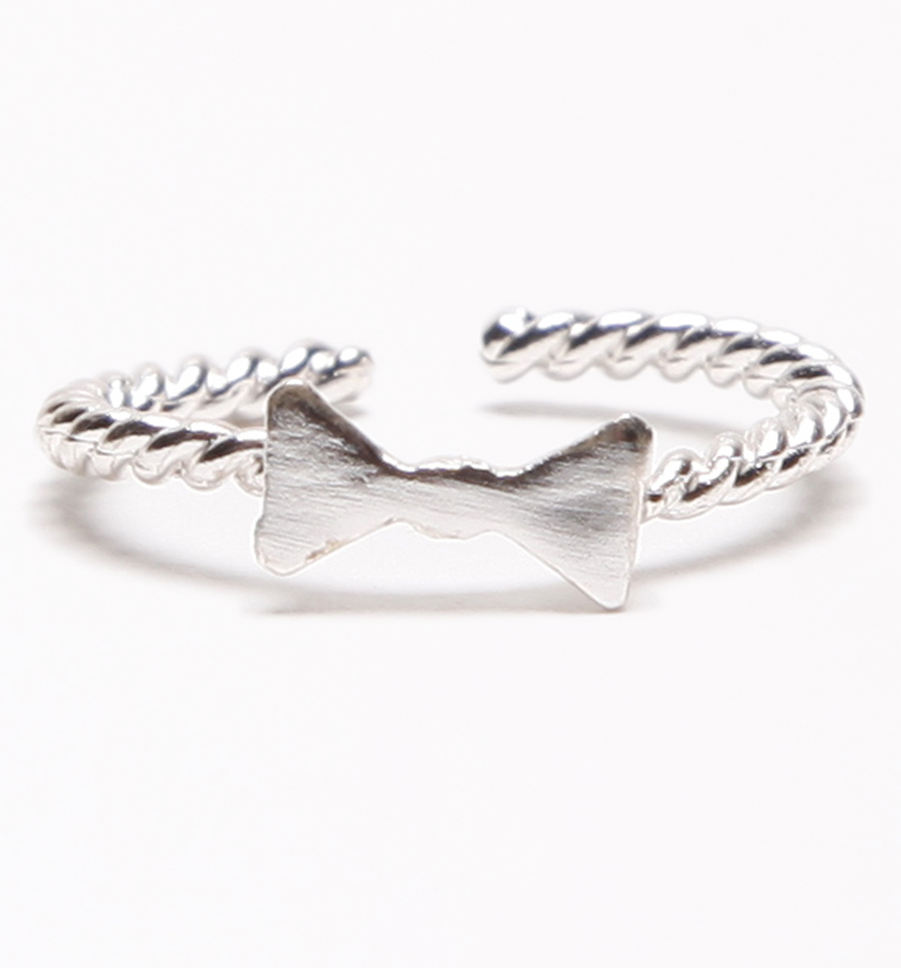 Silver Plated Bow Adjustable Midi Or Pinky Mean Girls Ring  from Stella & Bow