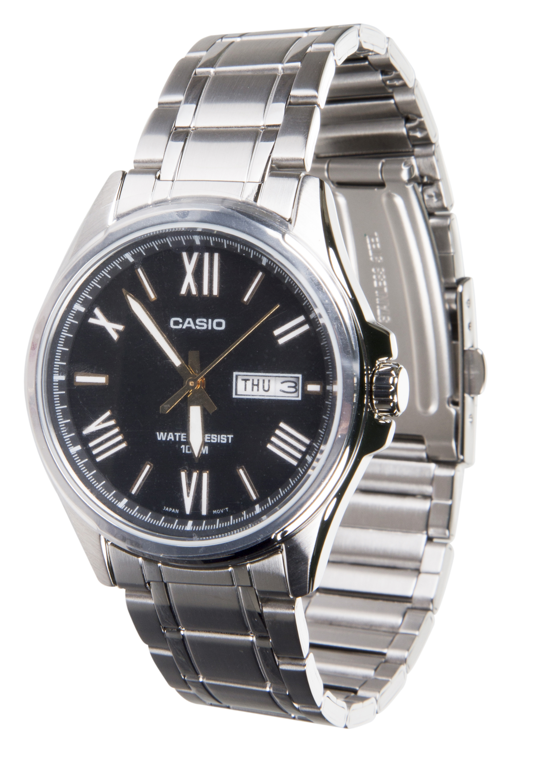 mens casio watches truffleshuffle casio collection silver analogue black dial watch mtp 1377d 1avef