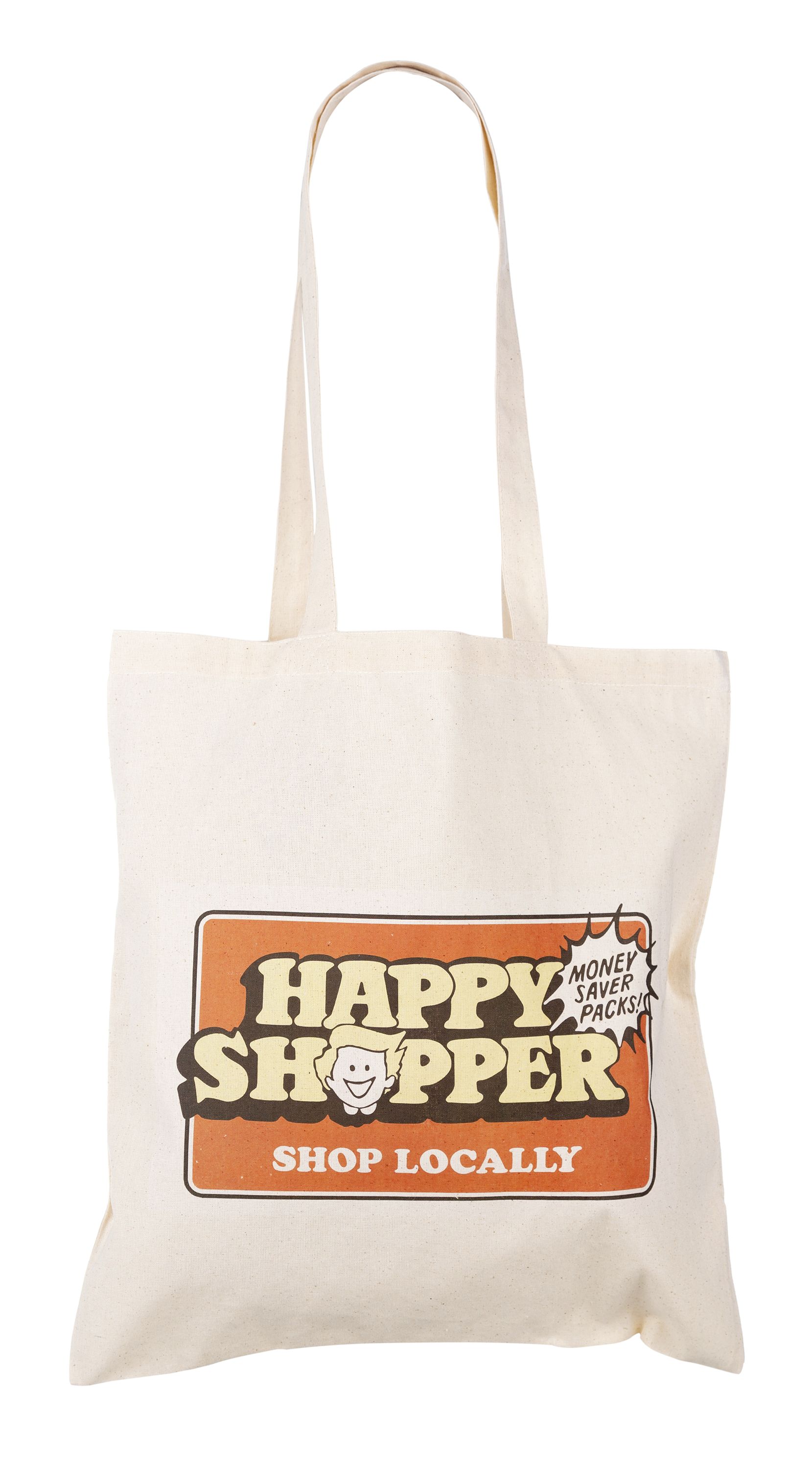 Happy Shopper Tote Bag - Printed on a 100% cotton long handled tote shopper  bag - Bag itself is a ecru beige colour and measures approx 14.5