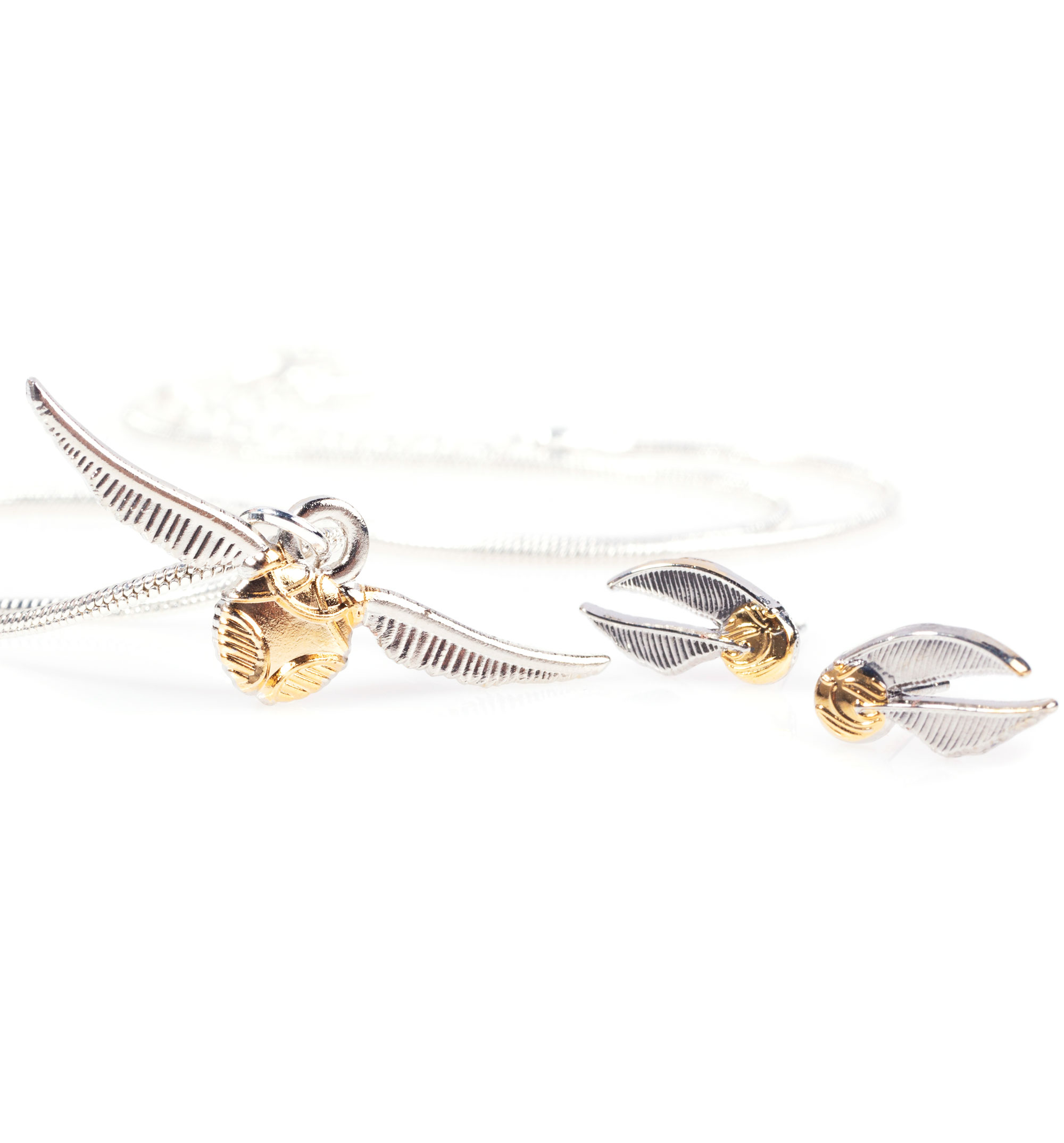 Harry Potter Golden Snitch Necklace And Stud Earrings Gift Set