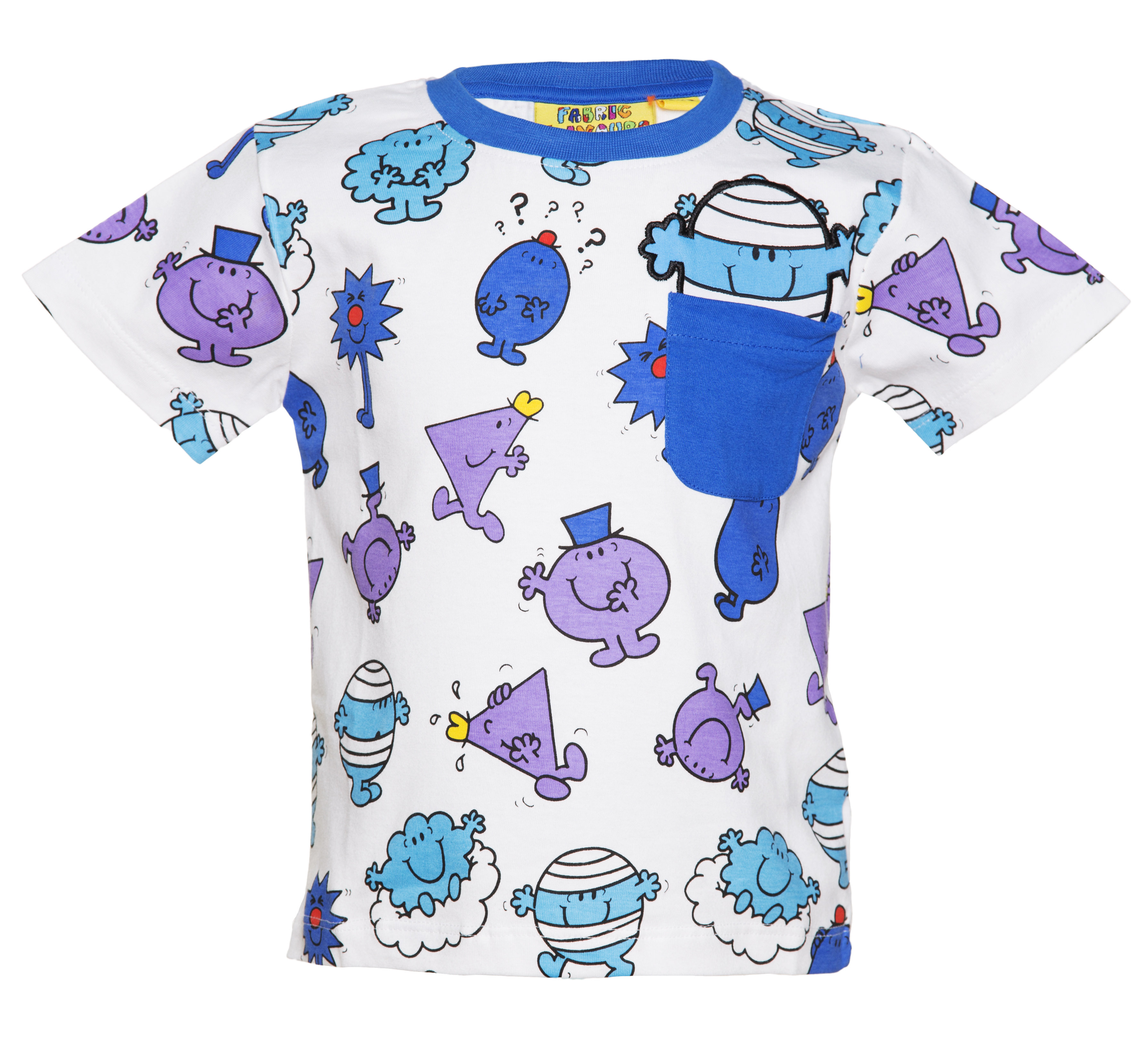 Blue apron kidd - Kids White And Blue Mr Men Repeat Print T Shirt From Fabric Flavours Made From 100 Cotton Blue Collar And Pocket Detail Embroidered Mr Bump Applique