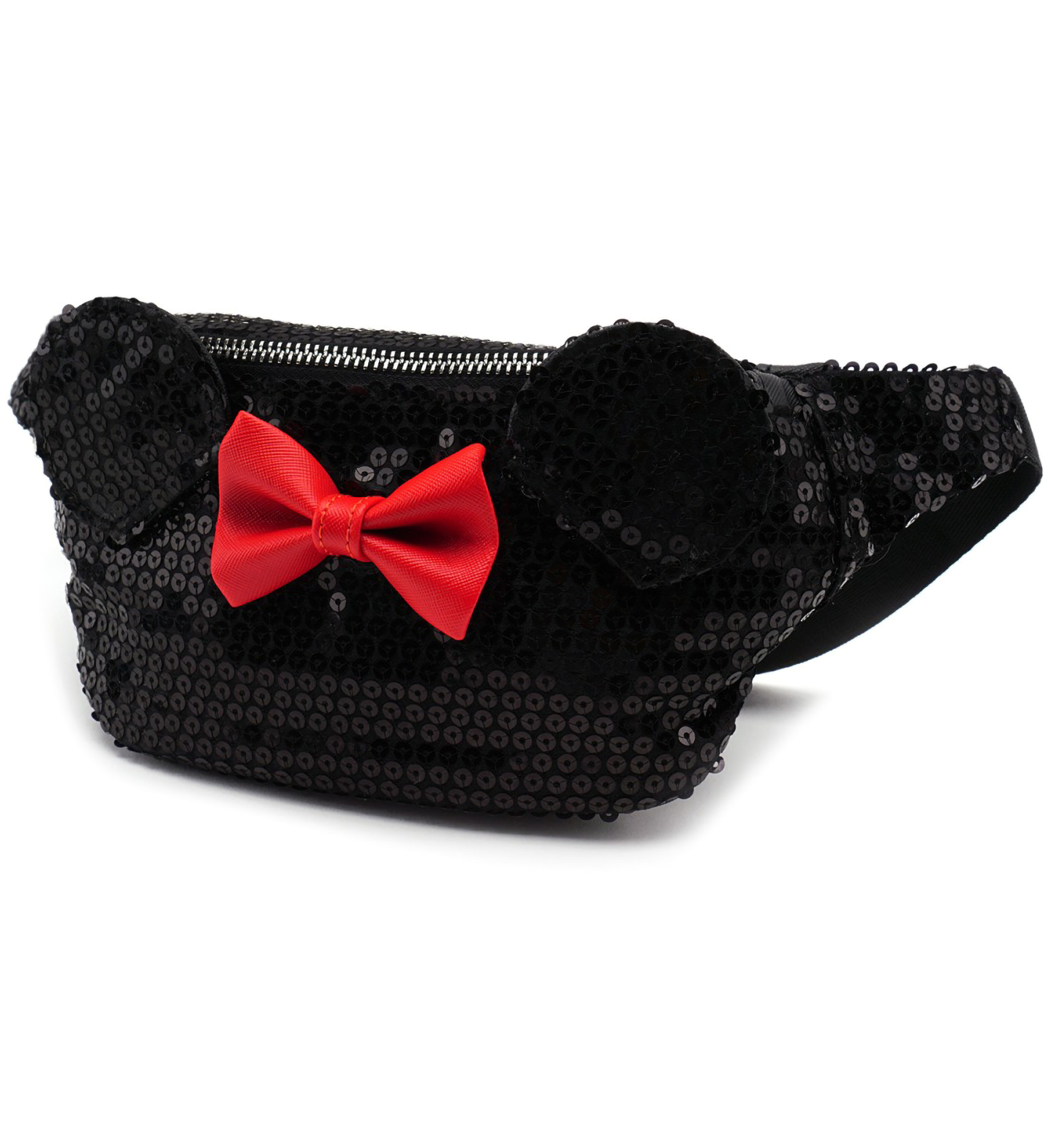 0b43f4cf353 Loungefly x Disney Minnie Mouse Black Sequin Bumbag - Faux Saffiano  textured leather bum bag with sequin finish - Measures 17.5cm width