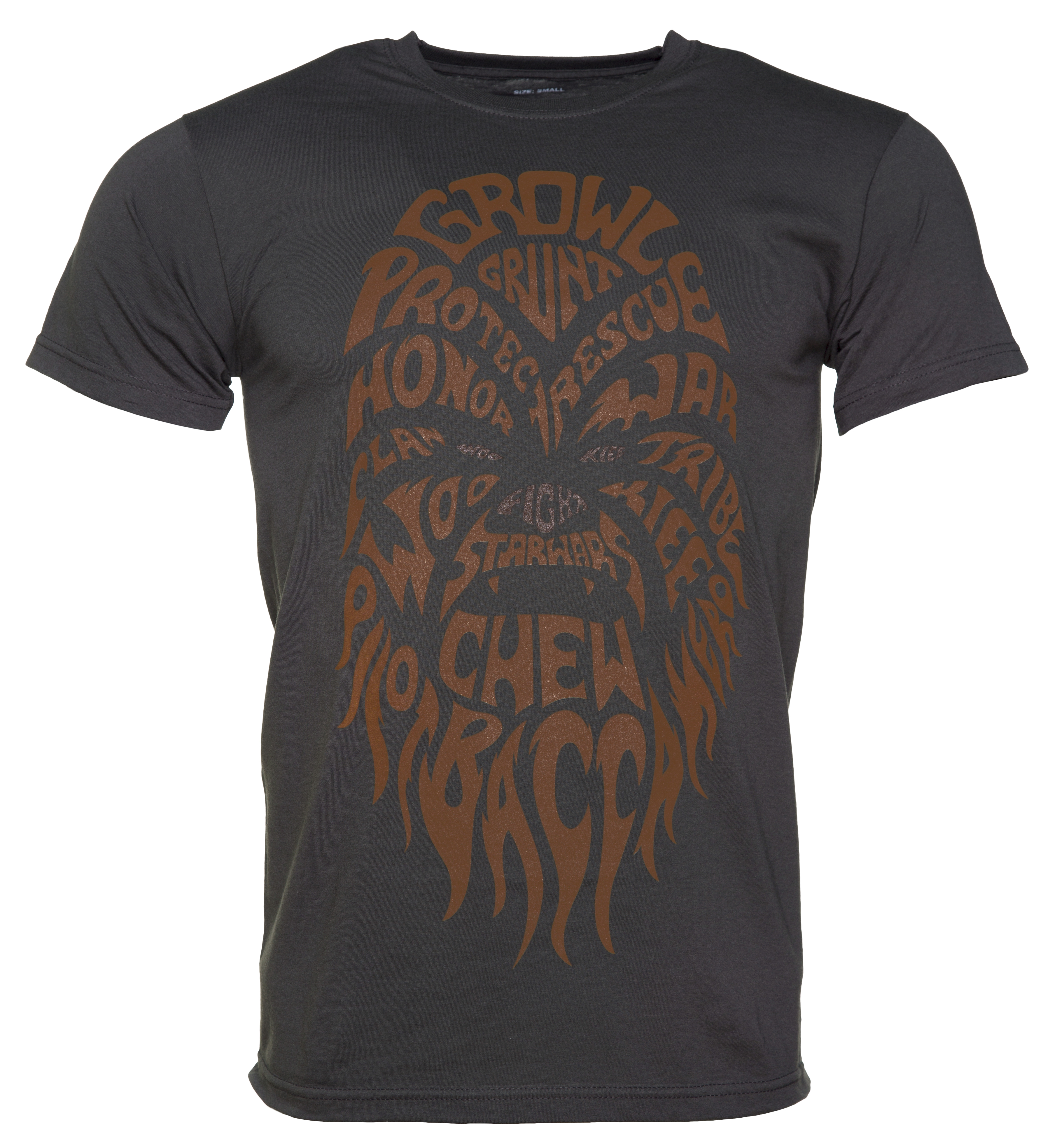 men 39 s charcoal chewbacca text star wars t shirt. Black Bedroom Furniture Sets. Home Design Ideas