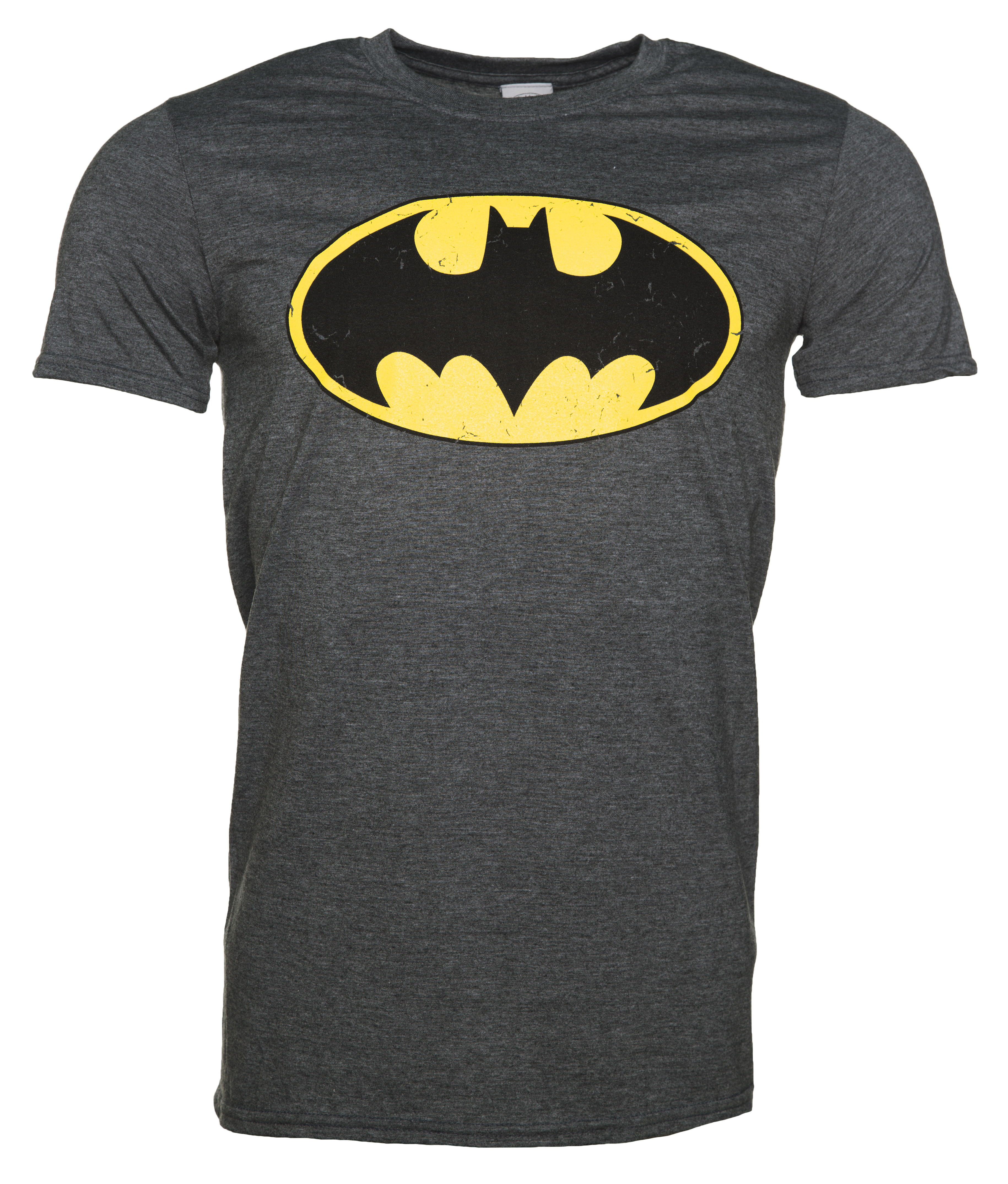 men 39 s charcoal distressed batman logo t shirt. Black Bedroom Furniture Sets. Home Design Ideas