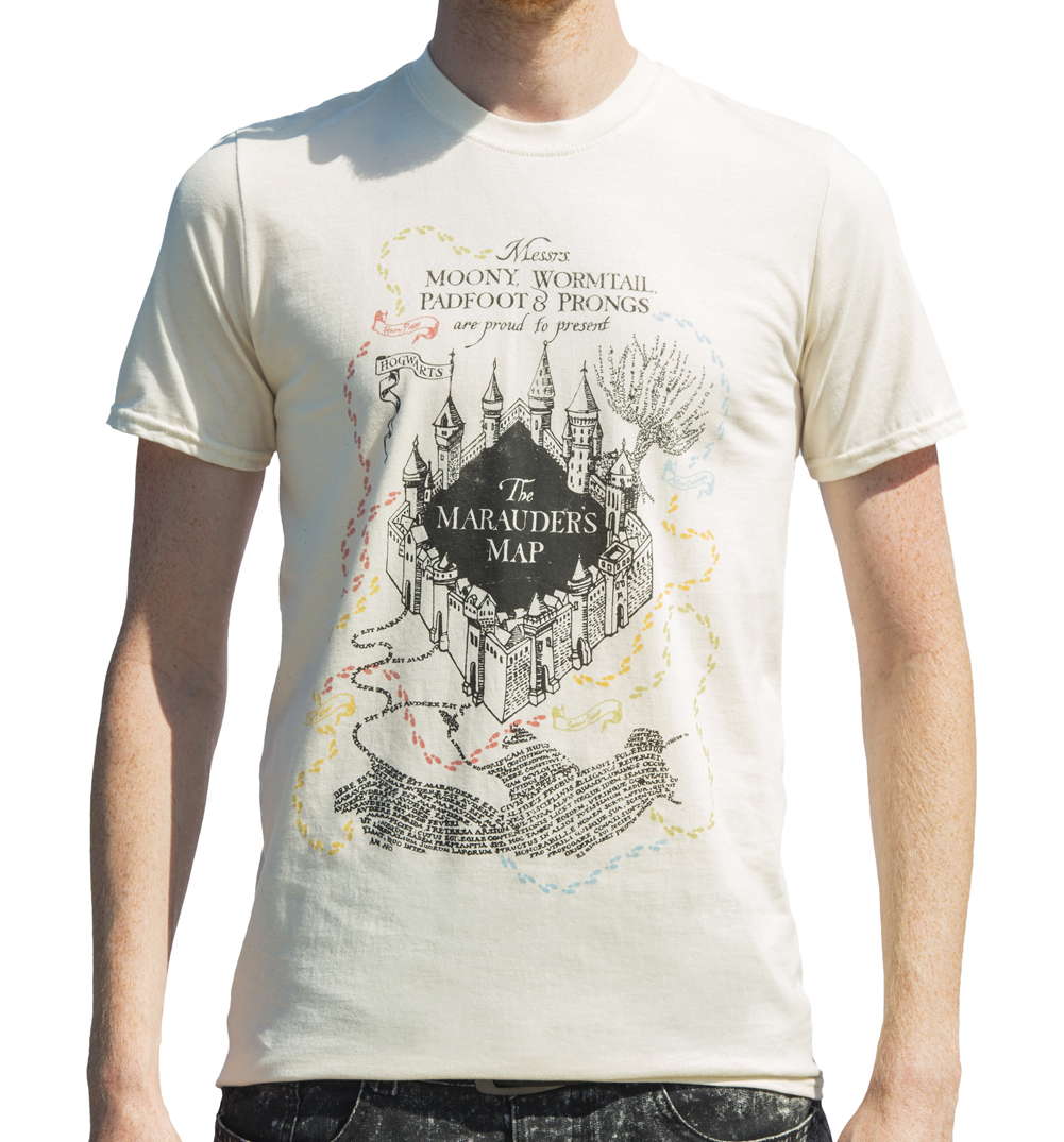 Men 39 S Ecru Harry Potter Marauders Map Uv T Shirt