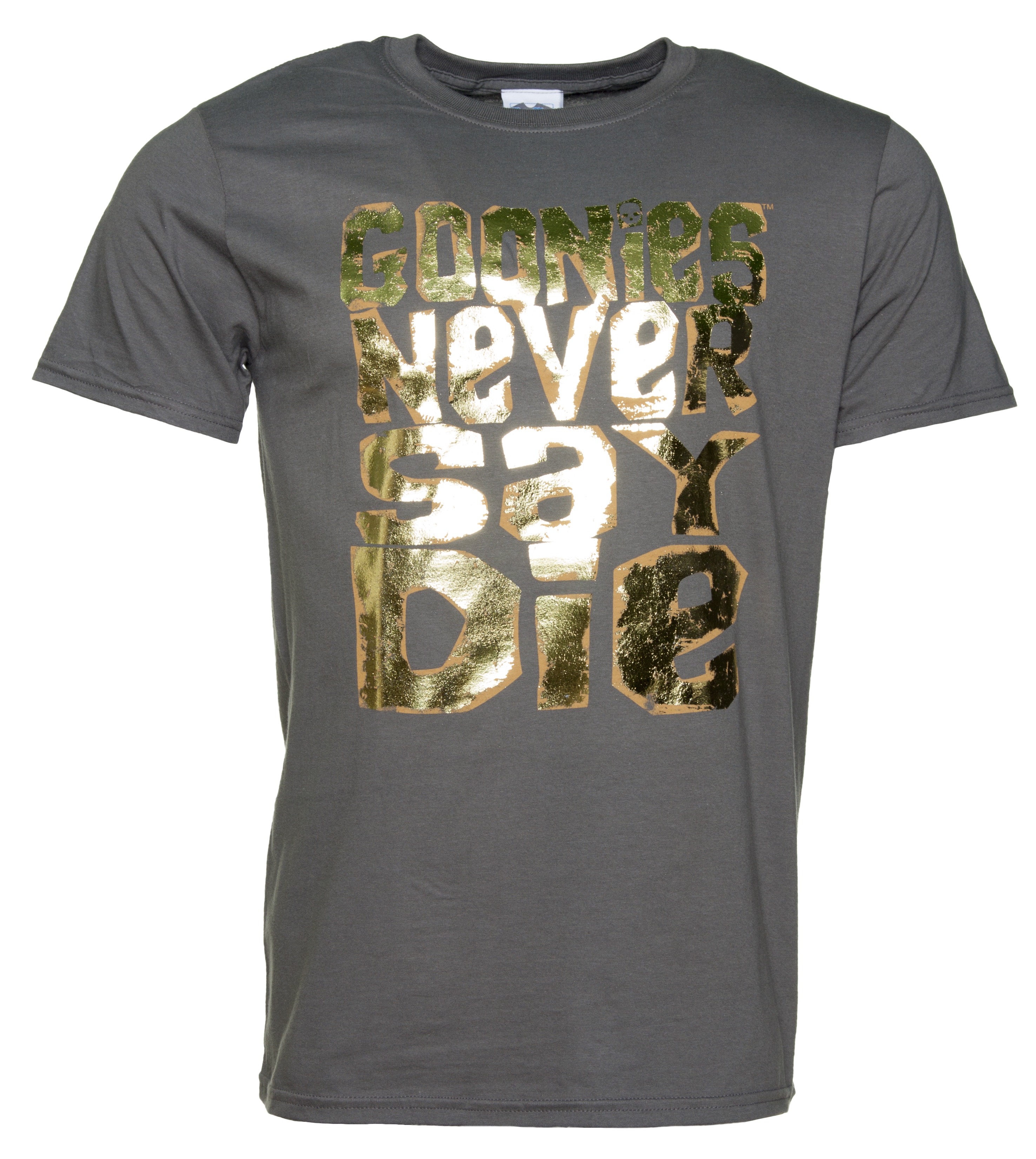 Black t shirt gold print - Men S Gold Foil Print Goonies Never Say Die Charcoal T Shirt Intentionally Distressed Screen Print For A Vintage Look Features A Special Metallic Gold