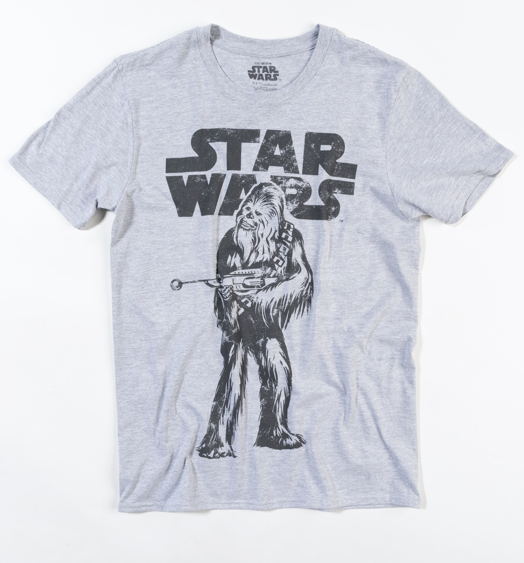 1d4cf0646 Men's Grey Marl Star Wars Distressed Chewbacca T-Shirt - Made from 90%  Cotton, 10% polyester - Soft feel, lightweight tee with a slim fit