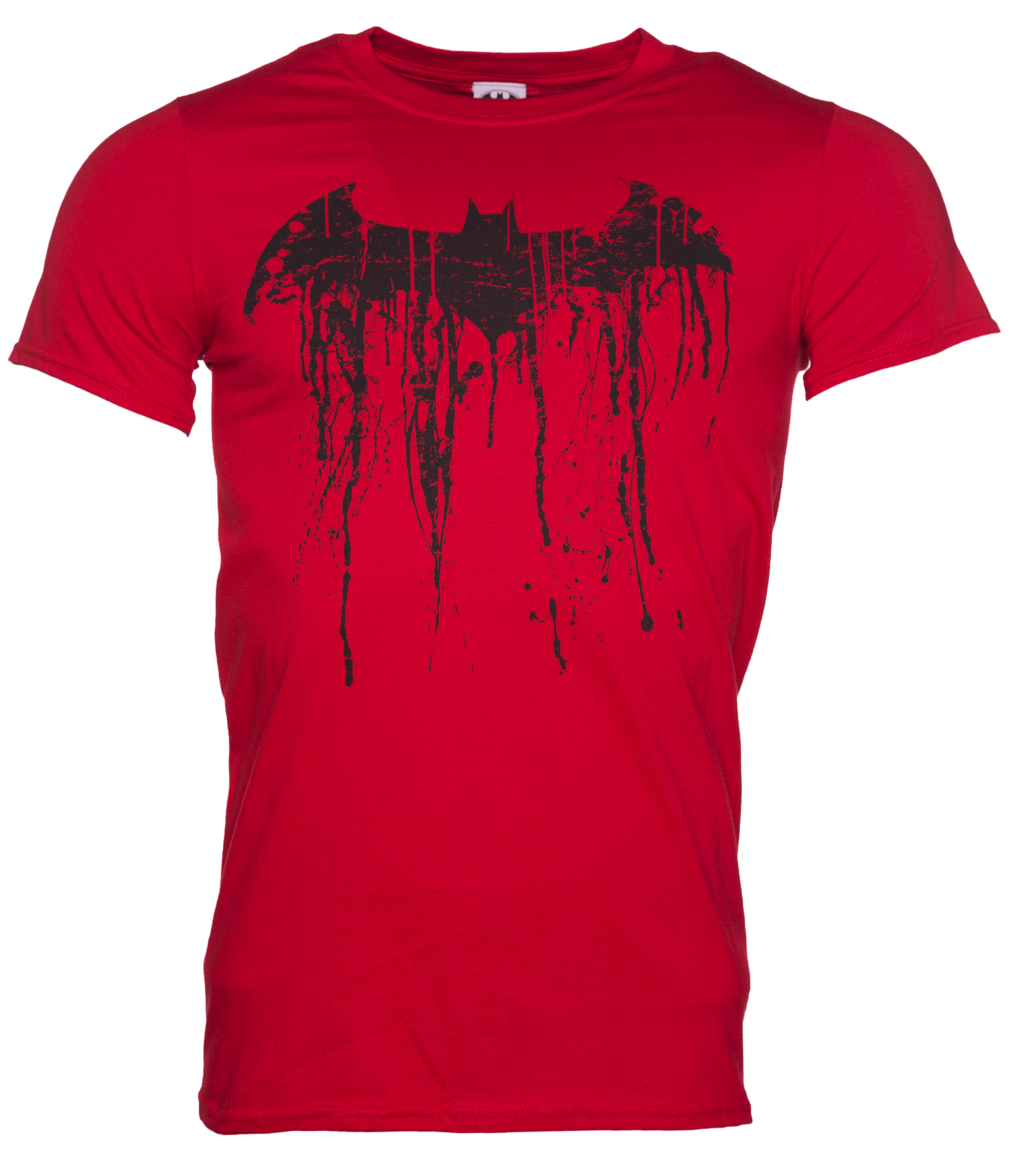 men 39 s red batman graffiti logo t shirt. Black Bedroom Furniture Sets. Home Design Ideas