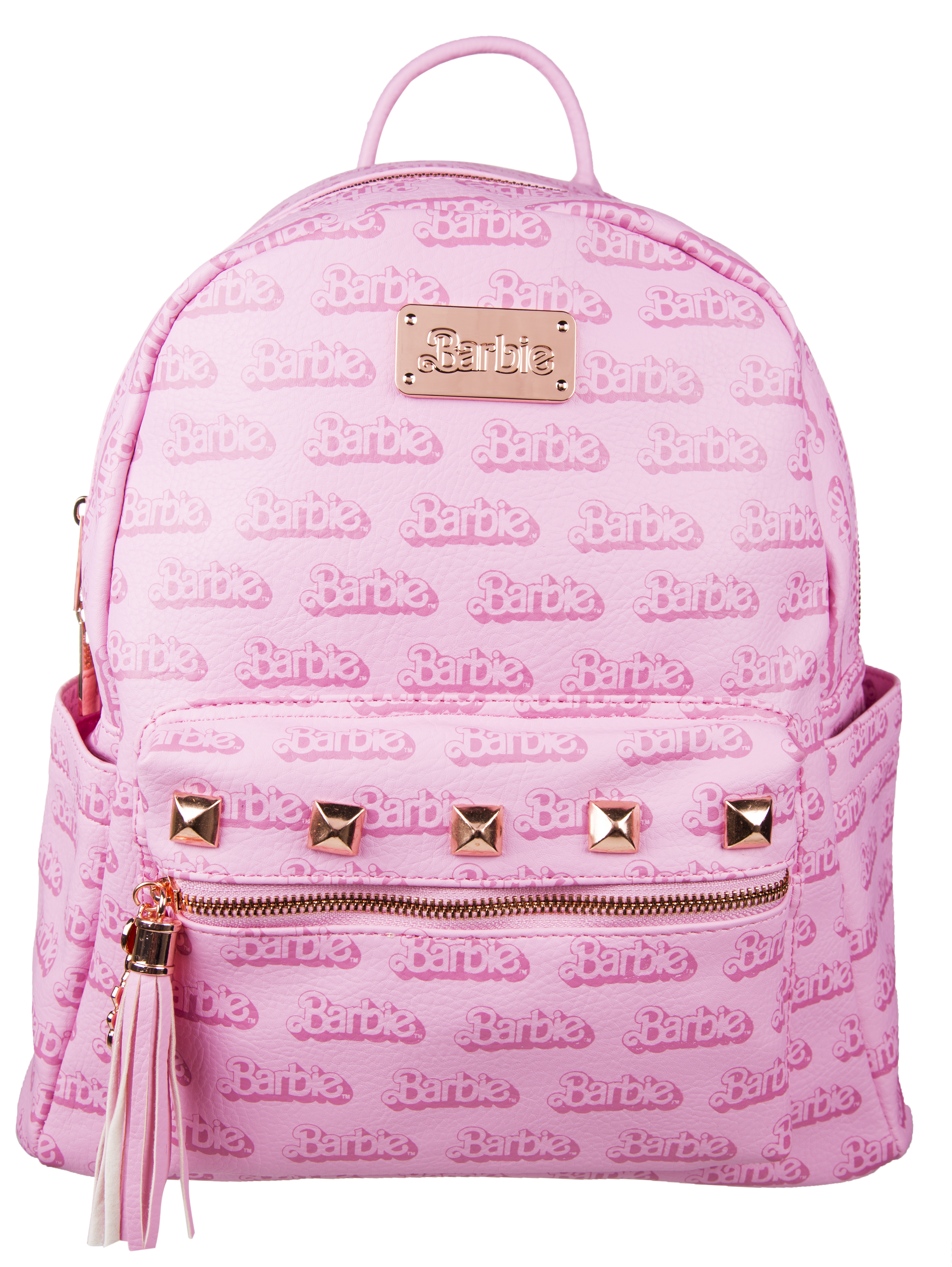 Pink barbie logo backpack pink barbie logo backpack made from premium quality pu fabric all over printed barbie logo design rose gold stud detail gumiabroncs Images
