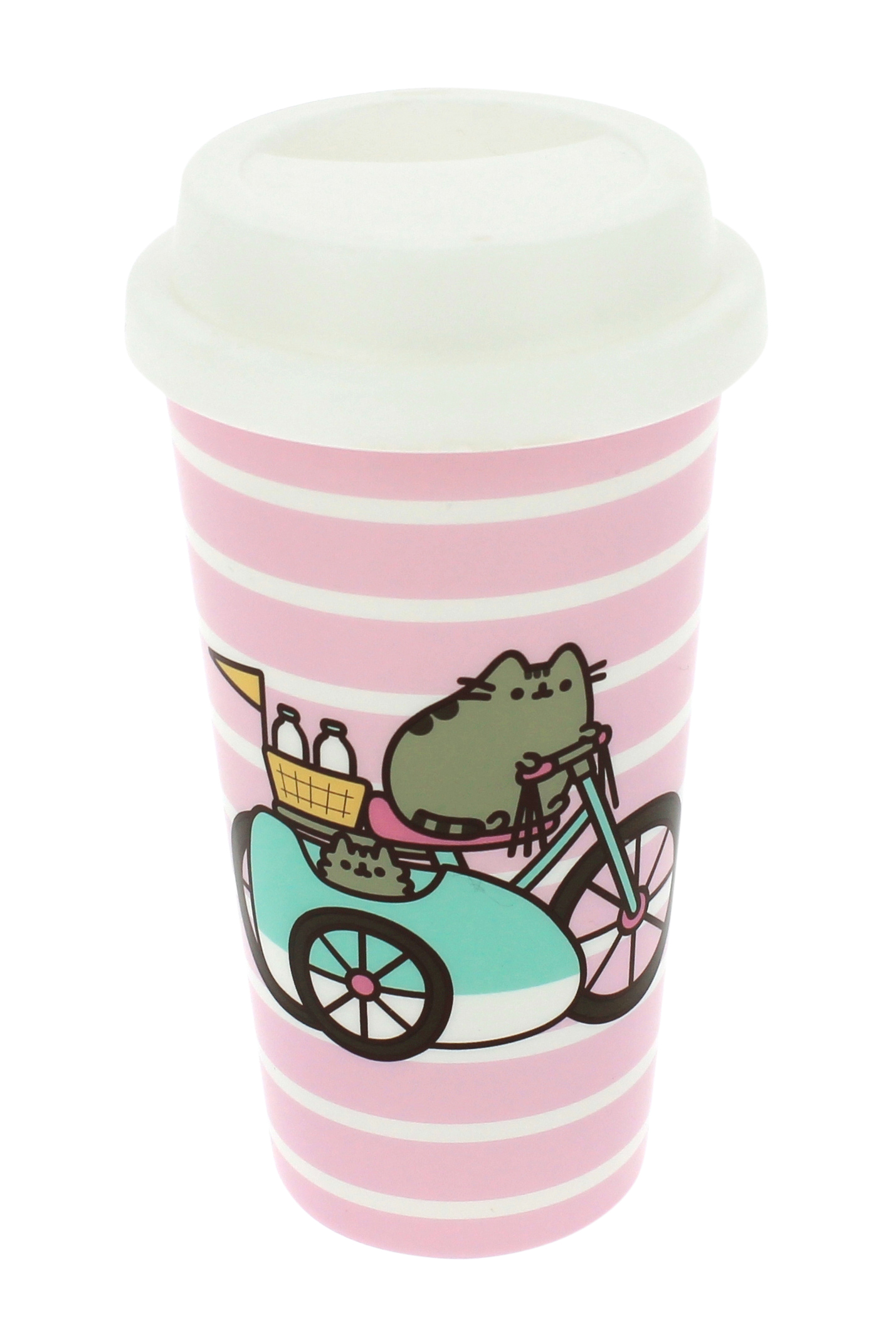 Pusheen Let\'s Go Striped Travel Mug
