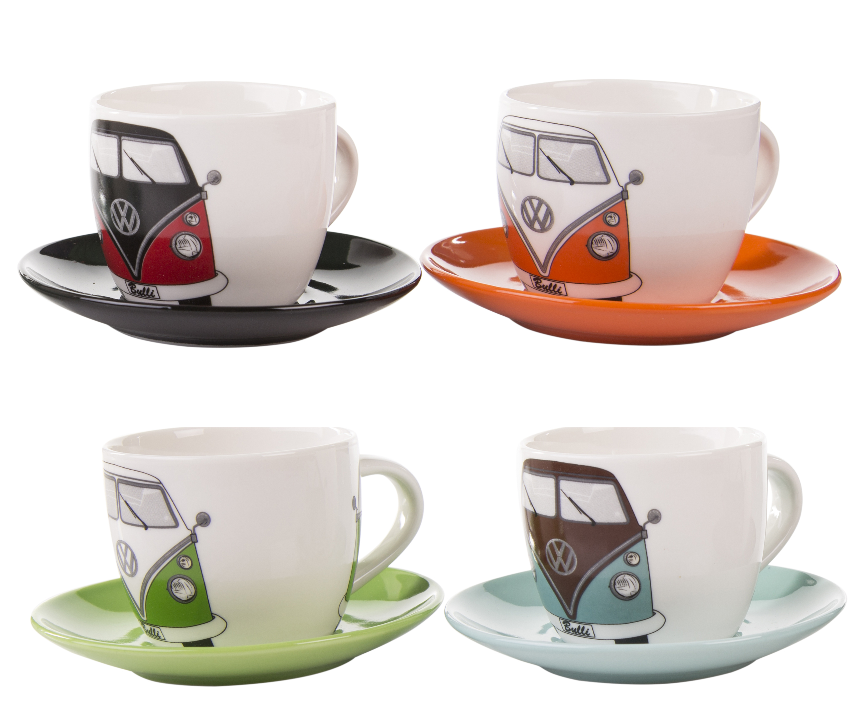 vw collection by brisa boxed set of  espresso cups - vw collection by brisa boxed set of  espresso cups  set of four cups andmatching saucers  made from new bone china  each measures cm diameter