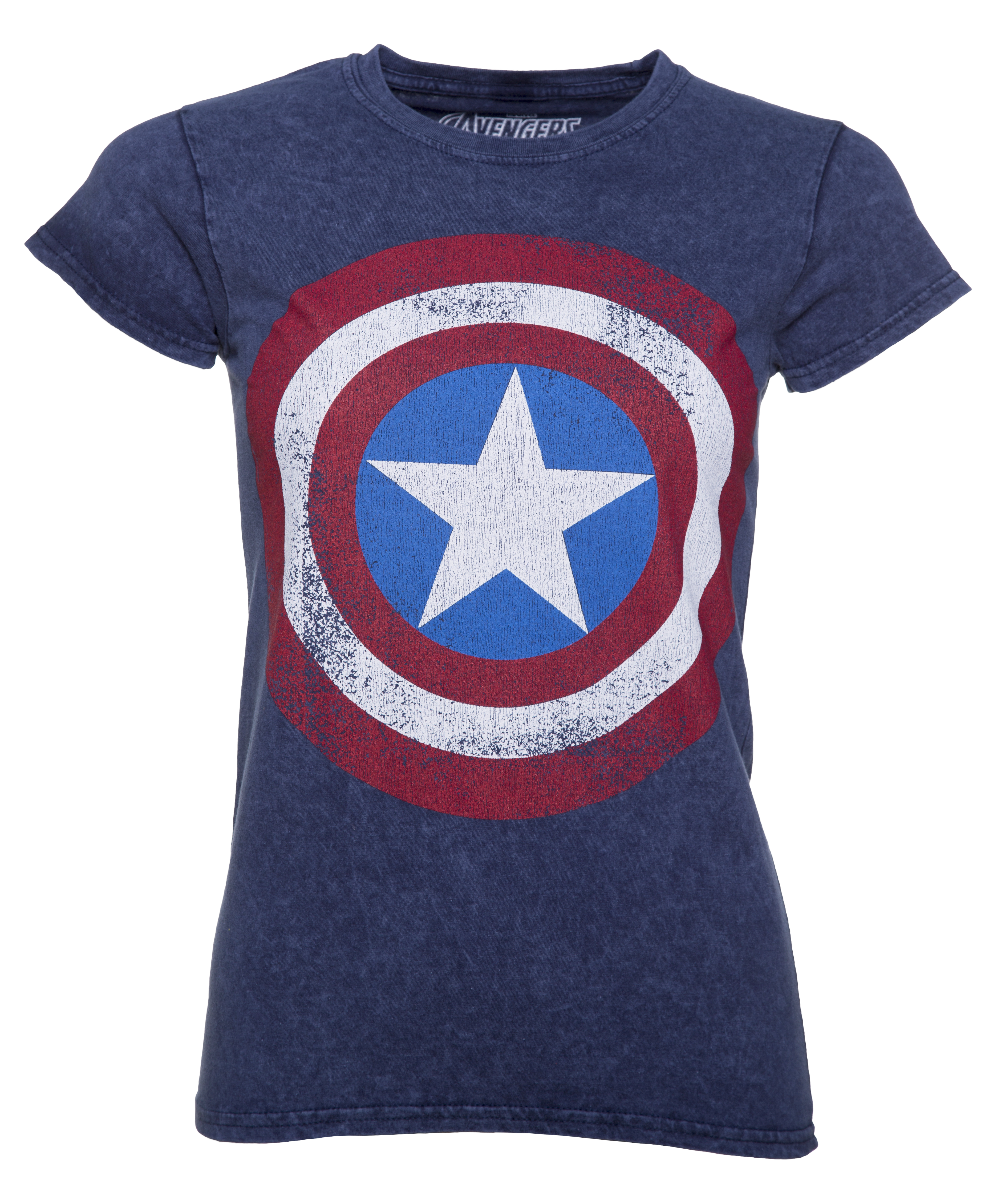 women 39 s blue snow wash marvel comics captain america distressed shield t shirt. Black Bedroom Furniture Sets. Home Design Ideas