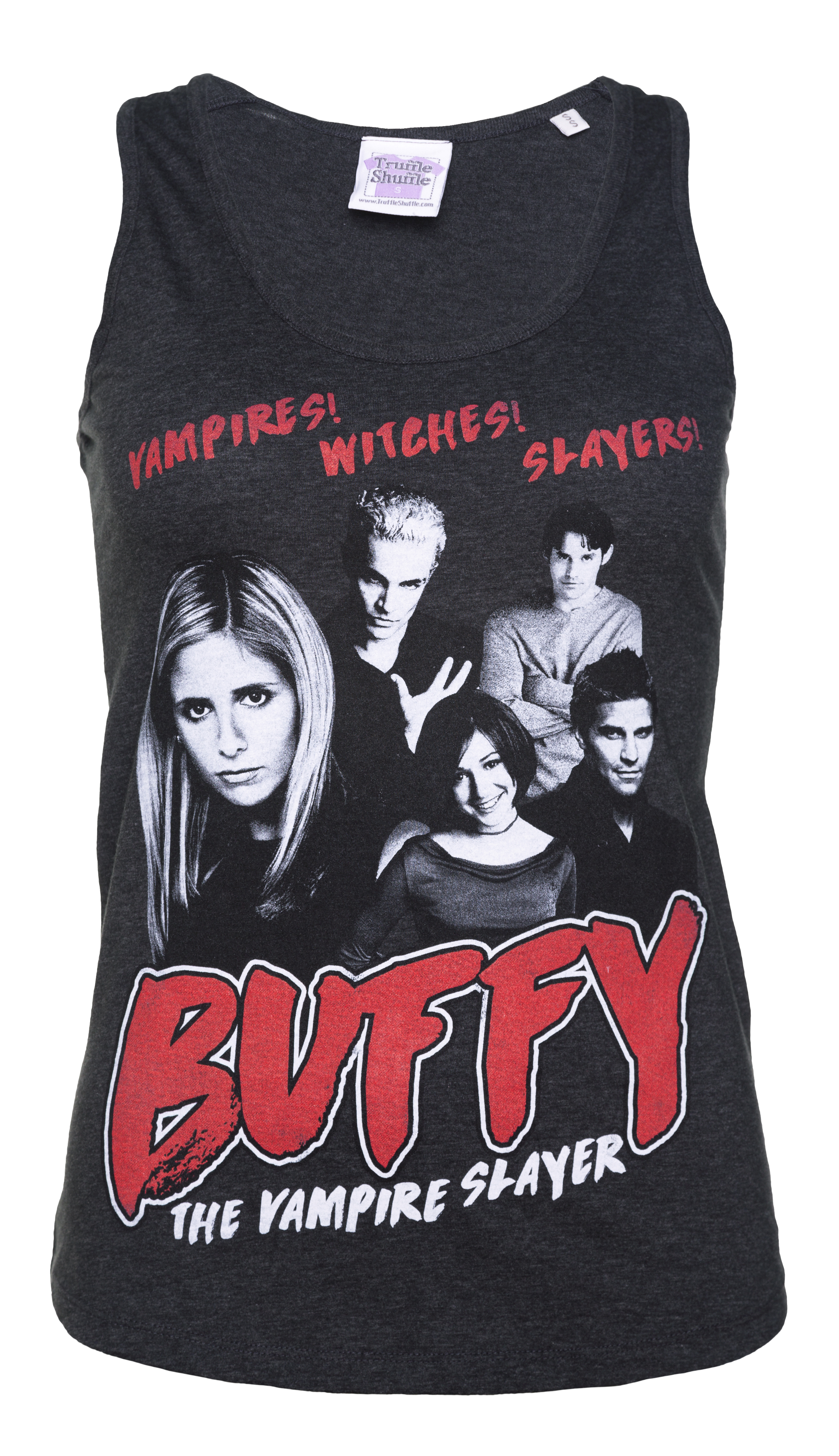 39b1ac20e6d7c6 Women s Buffy the Vampire Slayer Gang Dark Heather Grey Vest - Ladies  Organic racerback Tank Top composed of 100% Organic ring-spun Combed Cotton